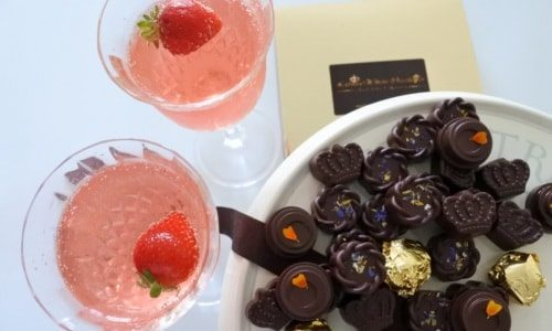 chocolates and pink champagne